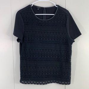 Talbots XL black lace tee faux leather collar